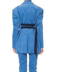 Tibi Blue Moleskin Oversized Blazer With Removable Straps