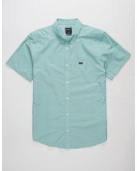 RVCA That'll Do Oxford Teal Blue Mens Shirt for men
