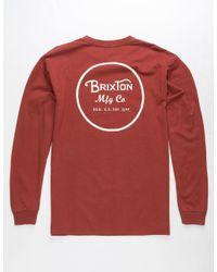 Brixton Red Wheeler Ii Brick Mens T-shirt for men