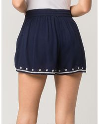 Patrons Of Peace - Blue Embroidered Border Womens Shorts - Lyst
