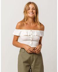 e19e8abecf284 Lyst - Tres Bien Crop Button Front White Womens Off The Shoulder Top ...