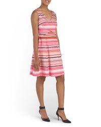 Tj Maxx - Red V Neck Striped Dress - Lyst