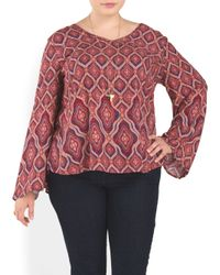 Tj Maxx - Red Plus Printed Long Sleeve Top - Lyst