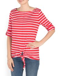 Tj Maxx - Red Boat Neck Tie Front Top - Lyst