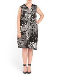 Tj Maxx - Black Plus Swirl Print Knit Dress - Lyst