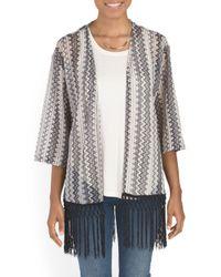 Tj Maxx - Black Fringed Crochet Knit Kimono - Lyst