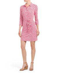 Tj Maxx - Pink Printed Collared Shirt Dress - Lyst