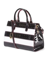 Tj Maxx - Black Made In Italy Patent Leather Striped Satchel - Lyst