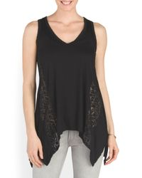 Tj Maxx - Black Made In Usa Lace Panel Tank - Lyst
