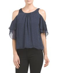 Tj Maxx - Blue Made In Italy Silk Ruffle Cold Shoulder Blouse - Lyst