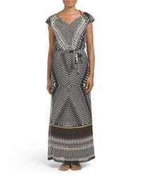 Tj Maxx - Black Cap Sleeve Printed Maxi Dress - Lyst