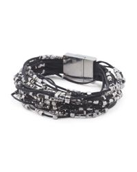 Tj Maxx Black Multi Strand Silver Plated Brass Bead Cord Bracelet With Magnetic Closure