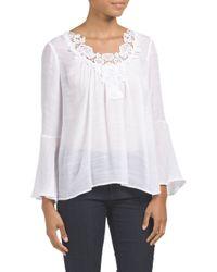 Tj Maxx - White Bell Sleeve Slub Crochet Neck Top - Lyst