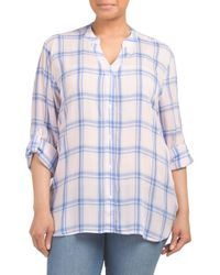 Tj Maxx - Blue Plus Button Down Plaid Shirt - Lyst