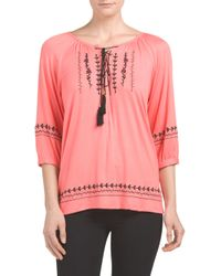 Tj Maxx - Pink Tie Neck Embroidered Front Top - Lyst