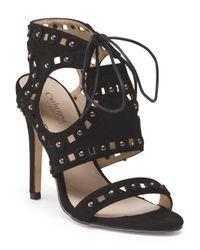 Tj Maxx - Black High Heel Lace With Stud Ornament Sandal - Lyst