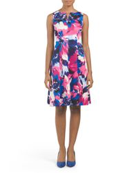 Tj Maxx - Pink Sleeveless Scuba Floral Print Dress - Lyst