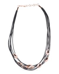 Tj Maxx - Black Made In Italy Sterling Silver Band And 7 Row Cord Necklace - Lyst