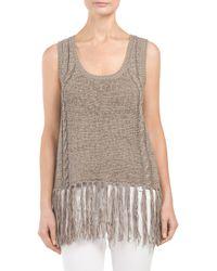 Tj Maxx - Gray Sleeveless Fringe Sweater - Lyst