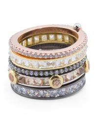 Tj Maxx - Metallic Tricolor Sterling Silver And Cubic Zirconia Eternity Interlocking Rings - Lyst