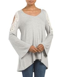 Tj Maxx - Gray Cold Shoulder Bell Sleeve Top - Lyst
