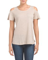 Tj Maxx - Brown Ribbed Cold Shoulder Top - Lyst