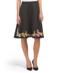 Tj Maxx - Black Flare Skirt With Floral Embroidery - Lyst