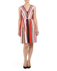 Tj Maxx - Red V Neck Striped Cocktail Dress - Lyst
