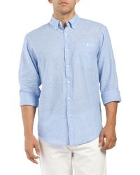 Tj Maxx - Blue Linen Blend Long Sleeve Button Down Shirt for Men - Lyst