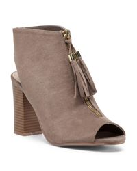 Tj Maxx - Brown Center Zip Peep Toe Bootie - Lyst