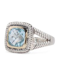 Tj Maxx - Made In Thailand 14k Gold And Sterling Silver Sky Blue Topaz Split Shank Ring - Lyst