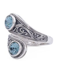 Tj Maxx - Metallic Sterling Silver Swarovski Crystal Bypass Ring - Lyst