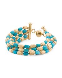 Tj Maxx - Metallic Made In Italy Turquoise And Satin Nugget Bracelet - Lyst