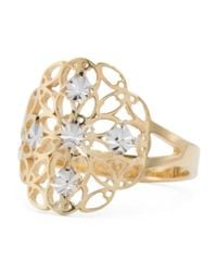 Tj Maxx - Metallic Made In Italy Gold And White Gold Diamond Cut Disk Ring - Lyst