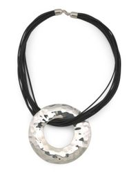 Tj Maxx - Metallic Made In Israel Sterling Silver Open Donut Corded Necklace - Lyst
