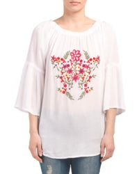 Tj Maxx - Pink Floral Embroidered Bell Sleeve Top - Lyst