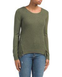 Tj Maxx - Green Ribbed Hi-lo Hem Sweater With Side Zips - Lyst