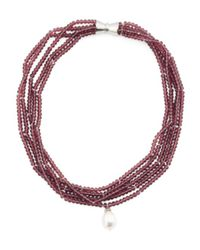 Tj Maxx - Multicolor Multi Strand Crystal Mother Of Pearl Magnetic Clasp Necklace - Lyst