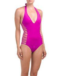589ff7758c Lyst - Tj Maxx Halter Tummy Toner One-piece Swimsuit in Pink