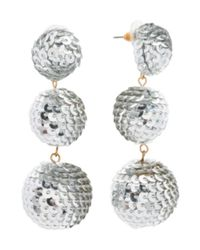Tj Maxx - Metallic Handmade Sequin Covered 3 Tier Ball Earrings - Lyst