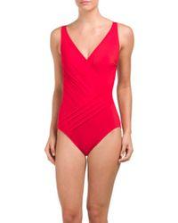 Tj Maxx - Red Surplice One-piece Swimsuit - Lyst