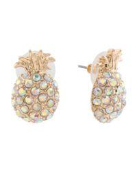 Tj Maxx Metallic Crystal Embellished Pineapple Stud Earrings