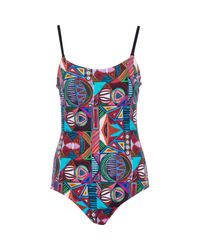 TK Maxx brand Blue Ed Abstract Print Padded Swimsuit
