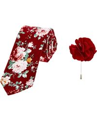 TK Maxx brand Red Floral Tie & Lapel Pin Set for men