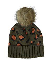 TK Maxx brand Green Animal Print Bobble Hat