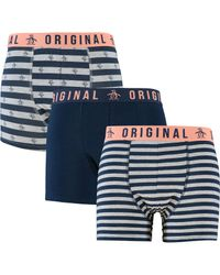 TK Maxx brand Blue Three Pack Grey Marl & Stripe Boxer Shorts for men
