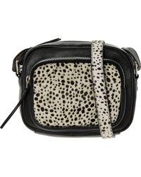 TK Maxx brand Black & Animal Print Leather Cross Body Bag