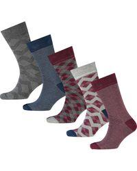 TK Maxx brand Blue Navy & Grey Diamond Striped Sock Five Pack for men