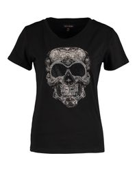 TK Maxx brand Black Diamante Skull T Shirt