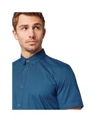 Tom Tailor Heren Korte Mouw Overhemd Stretch in het Blue voor heren